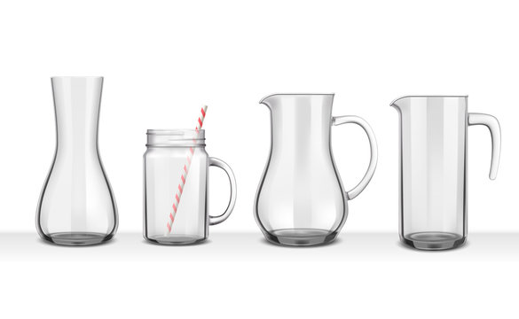 Four Smooth Glass Jugs