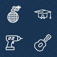 Premium set of outline vector icons. Such as musical, bomb, heat, machine, college, explode, cloud, fire, success, flame, music, burn, academic, danger, construction, graduate, hat, explosive, rock
