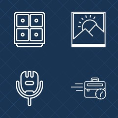 Premium set of outline vector icons. Such as vintage, studio, retro, frame, money, internet, sing, white, singer, photography, computer, work, picture, art, late, financial, blank, office, business