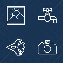 Premium set of outline vector icons. Such as background, border, blank, airplane, camera, frame, white, kitchen, tap, jet, clean, air, basin, faucet, fly, plane, plumbing, image, metal, flight, lens