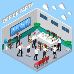 Office Party Isometric Composition