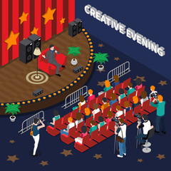 Creative Evening Isometric Composition