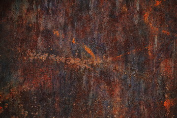 Corten steel texture, rustic steel plate, weathering steel, rusted metal, brown and orange background Wall mural