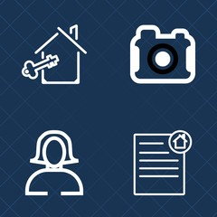 Premium set of outline vector icons. Such as mortgage, real, sale, agent, camera, young, photograph, buy, house, agreement, investment, pretty, paper, equipment, face, document, estate, property, loan