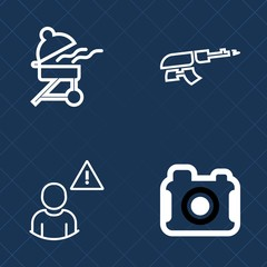 Premium set of outline vector icons. Such as picture, soldier, web, machine, charcoal, cooking, camera, lens, equipment, alarm, online, photo, military, meal, assault, grill, photographer, barbecue