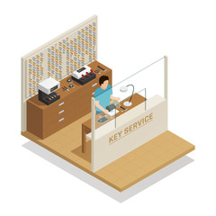 Key Service Isometric Composition
