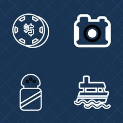Premium set of outline vector icons. Such as transport, heap, ship, marine, salt, game, photographer, bet, equipment, film, risk, vessel, picture, technology, camera, ingredient, white, salty, vegas