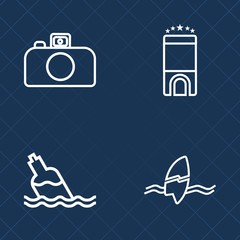 Premium set of outline vector icons. Such as sign, surfer, photography, blue, surfing, people, business, summer, beach, clean, tropical, travel, sea, digital, health, technology, mineral, bedroom, bed