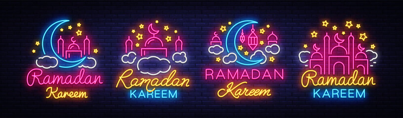 Ramadan Kareem collection neon signs. Ramadan Kareem vector banner in neon style, night bright signboard, celebration of Muslim community festival, islamic greeting design, greeting card, advertising