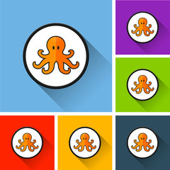 octopus icons with long shadow