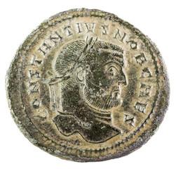 Ancient Roman copper coin of Emperor Constantius Chlorus. Obverse.