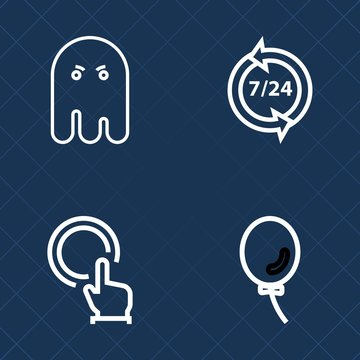 Premium set of outline vector icons. Such as helpline, service, spooky, scary, night, operator, headset, touch, cursor, mystery, dark, party, shadow, office, spirit, halloween, fear, celebration, help