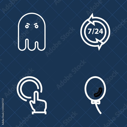 premium set of outline vector icons such as helpline service spooky scary