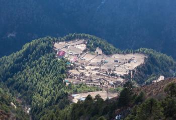 Village on the way to Everest base camp, Sagarmatha National Park, Nepal Himalayas
