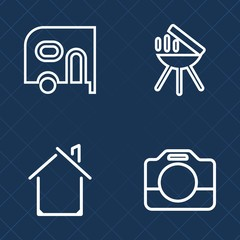 Premium set of outline vector icons. Such as cook, car, meal, camera, professional, vehicle, auto, construction, media, commercial, architecture, business, equipment, freight, transportation, building