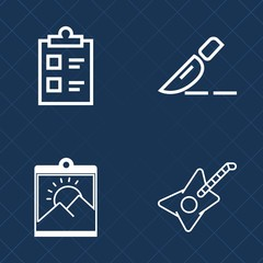 Premium set of outline vector icons. Such as picture, sound, check, list, music, border, sign, operation, background, mark, medicine, frame, young, medical, white, clinic, surgeon, test, tick, retro