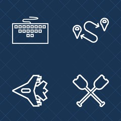 Premium set of outline vector icons. Such as water, sea, pc, sky, work, rowing, internet, map, flight, information, travel, airliner, direction, location, transportation, point, position, computer