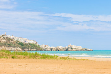 Vieste, Italy - Looking towards the city ledge from the beach of Vieste
