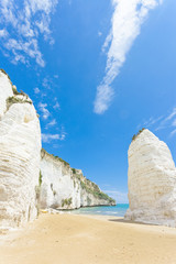 Vieste, Italy - Giant chalk cliffs at the beach of Vieste