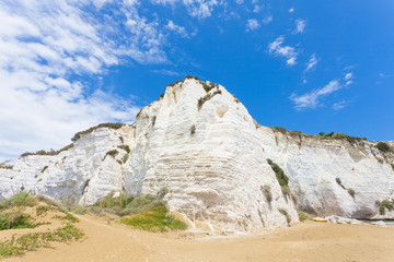 Vieste, Italy - Impressive chalk cliffs at the beach of Vieste