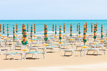 Vieste, Italy - Sunloungers at the clean beach of Vieste