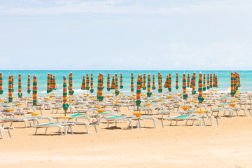 Vieste, Italy - Sunshades at the clean beach of Vieste