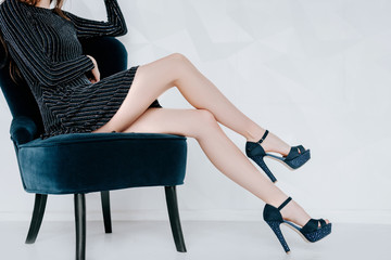 Spring fashion trend style, long legs, heeled shoes.Women's sexy legs