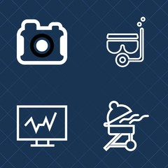 Premium set of outline vector icons. Such as digital, photograph, computer, summer, snorkel, meat, image, sea, technology, picture, mask, medicine, doctor, lens, fire, leisure, water, photography, bbq