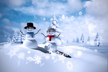 Composite image of snowman family against blue sky with white clouds