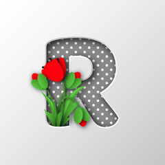 Paper cut letter R with poppy flowers. Sign for decorative holiday design. Papercraft style. Vector illustration.