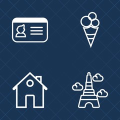 Premium set of outline vector icons. Such as family, business, real, frozen, property, travel, ice, new, cream, chocolate, personal, modern, strawberry, scoop, ice-cream, male, home, paris, eiffel, id