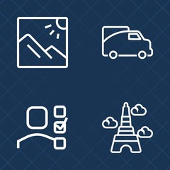 Premium set of outline vector icons. Such as business, transport, plan, right, traffic, summer, tourism, architecture, personal, office, shipping, french, list, concept, white, background, scenic, car