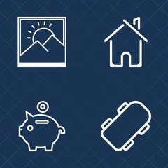 Premium set of outline vector icons. Such as residential, photo, door, finance, image, skateboard, property, wall, background, skater, board, architecture, exterior, frame, investment, coin, street