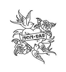 Tattoos with the inscription of Mom and Dad. Two hearts with a flower and a bird. Congratulation for parents with an anniversary. A tattoo for loving parents. Tattoos in the old style.