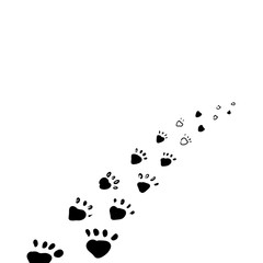 Drawn traces of animal paws. Abstract trace of the beast.