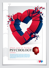 Broken Heart concept breakup, 3D realistic vector illustration of heart symbol exploding to pieces, flyer or brochure for psychology clinic, consultation and therapy. Creative idea of breaking love.