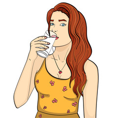 Healthy woman is drinking milk from a glass. Imitation comic style vector. isolated object on white background