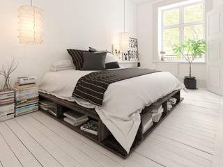 Bedroom interior design 3D rendering