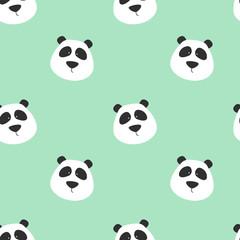 Seamless pattern with cute panda. Panda vector print.