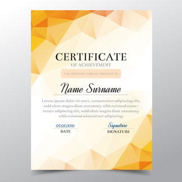 Certificate template with orange geometric elegant design, Diploma design graduation, award, success.