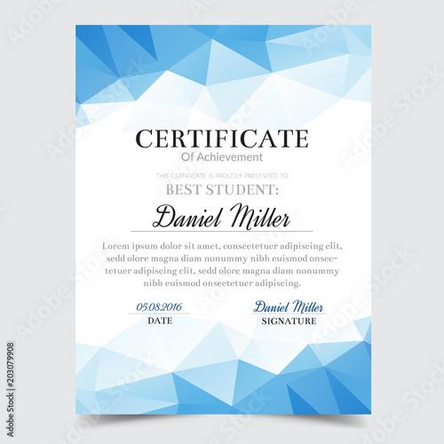 Certificate Template With Blue Geometric Elegant Design Diploma