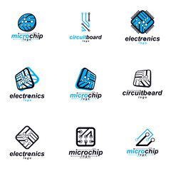 Technology communication cybernetic elements collection. Vector abstract circuit board. Set of electronic microprocessor logos.