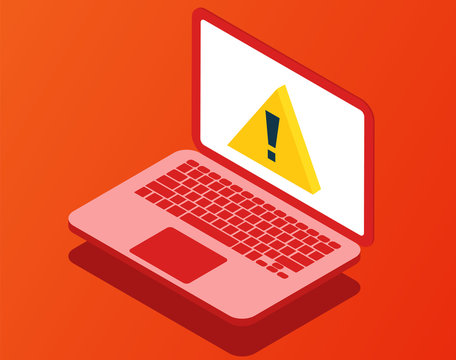 Problem with laptop. Virus attention. Broken computer. Vector illustration in isometric style.
