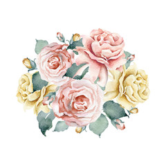 Watercolor floral bouquet with pink and tea roses