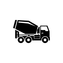 Concrete Mixer. Cement Mixer Truck. Flat Vector Icon. Simple black symbol on white background