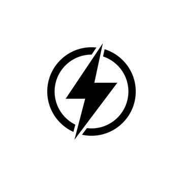 Lightning Electric Power. Energy and Thunder Electricity. Lightning Bolt Flash. Power Fast Speed. Flat Vector Icon. Simple black symbol on white background