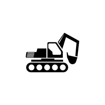 Excavator. Loader Tractor. Crawler Excavator. Crawling Digger. Flat Vector Icon. Simple black symbol on white background