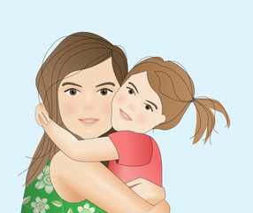 Mother with child illustration, mothers day card