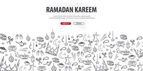 Illustration of Ramadan Kareem with hand draw doodle background for the celebration of Muslim community festival