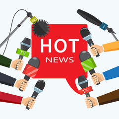 Hot news, mass media concept. Vector illustration